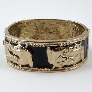 Jewelry - Black Enamel Gold Tone Horse Head Hinged Bangle